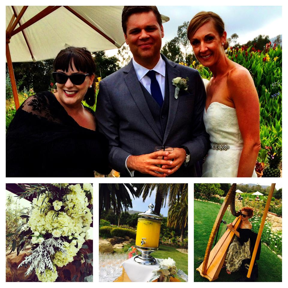 l-r: SBWCWE Kerry Lee Dickey with happy wedding couple clients at private estate wedding