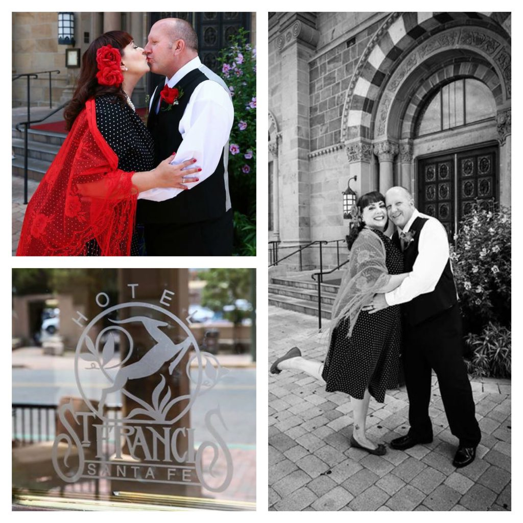"Continuing our walking ""mobile photo shoot"" after our vows and pausing in front of St. Francis Cathedral. Photo Credit: Melanie West"