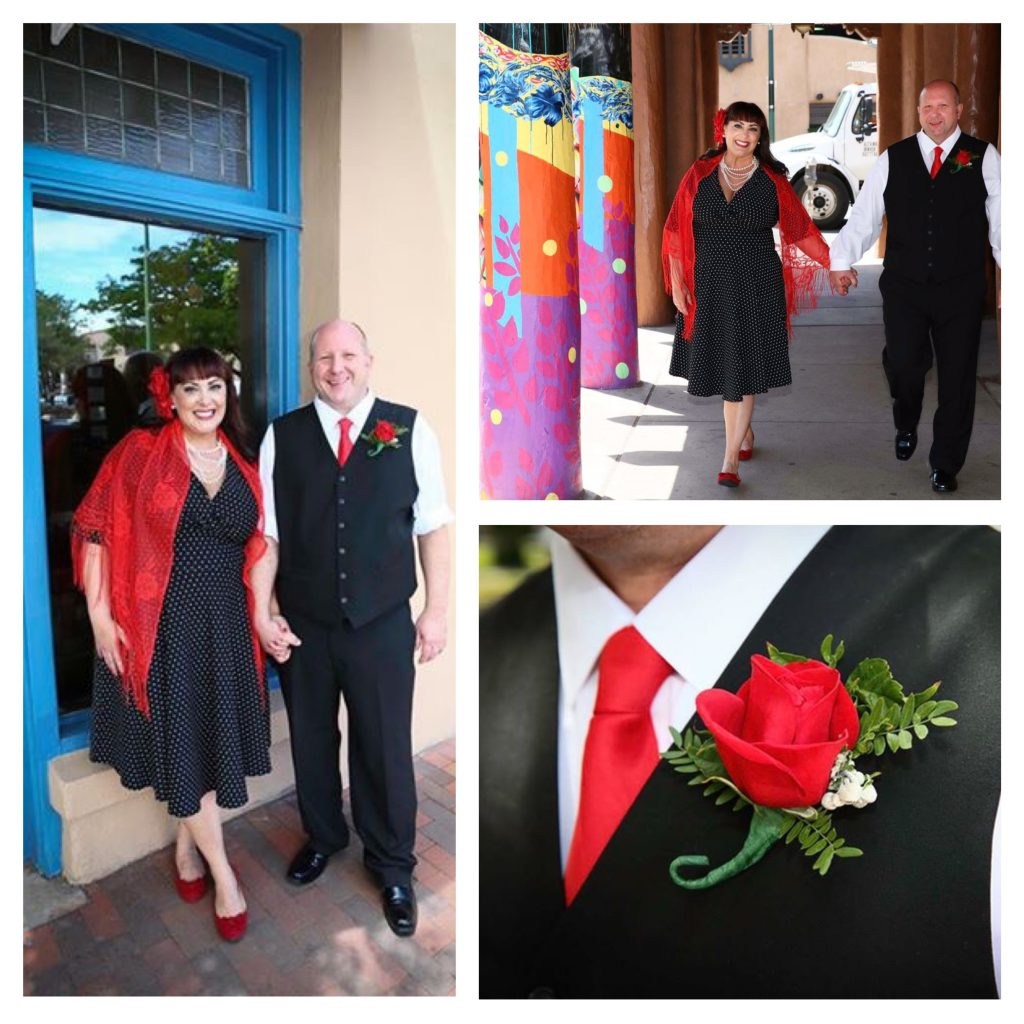 "Our ""mobile photo shoot"" walking downtown Santa Fe after we said ""I do"". Photo Credit: Melanie West"