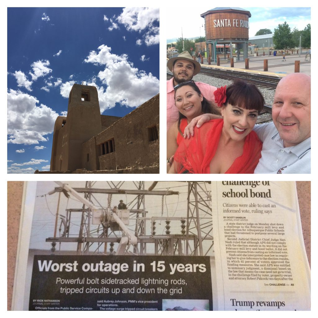 Above Photo: Some of Santa Fe's highlights as well as the newspaper headlines, documenting the power outage due to a severe storm, which delayed getting our marriage license