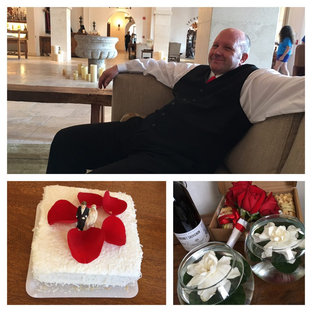 Above Photo: my husband-to-be calmly waiting for the minister to marry us; vintage cake topper that topped my grandparents and my parents wedding cake; and just a few of the floating gardenias and delectables that were waiting in our room from amazing friends